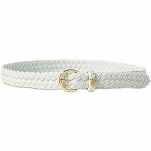 Ralph Lauren Gold Tone Buckle White Braided Belt